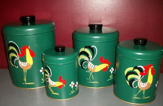 Vintage NOS Ransburg Green Canister Set Folk Art Rooster Hand Painted by Junkydory
