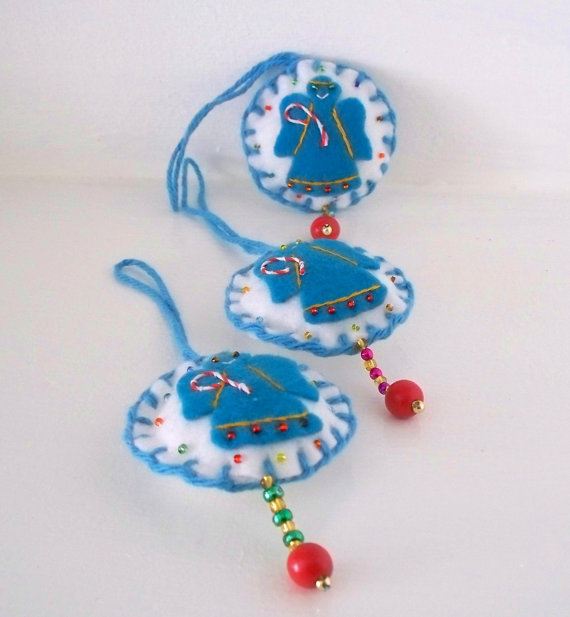 Christmas Decoration Blue Angel Felt Hanging Ornament by WhisperingOak