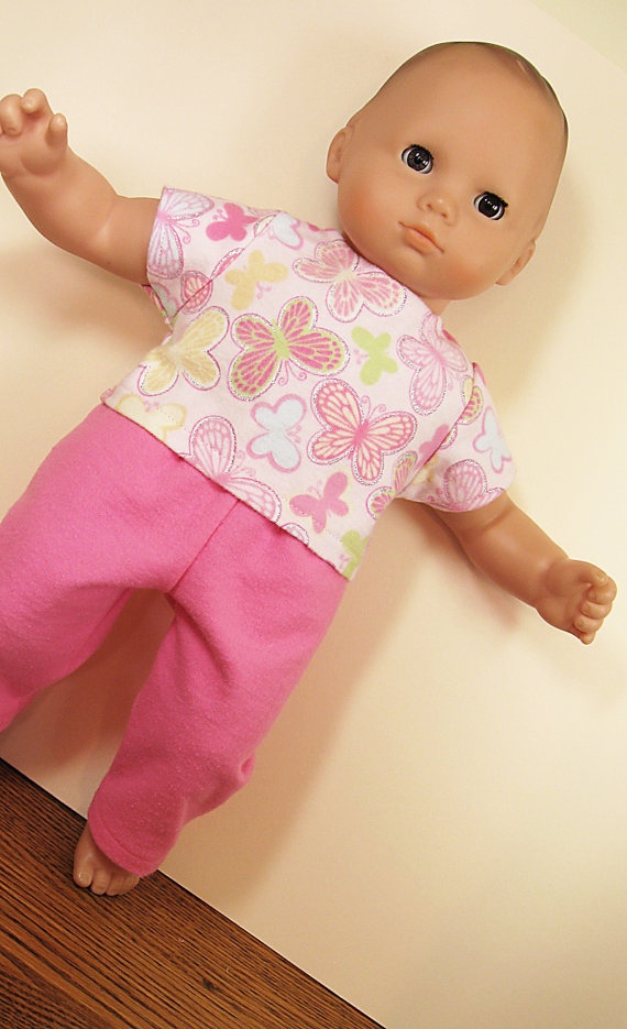 Bitty or Twin Doll Clothes – Pink Butterfly Pajamas by ampmcreations
