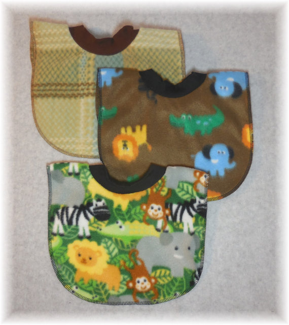 Jungle Animal Baby Bib and Plaid Baby Bib Set by MaricoleDesigns