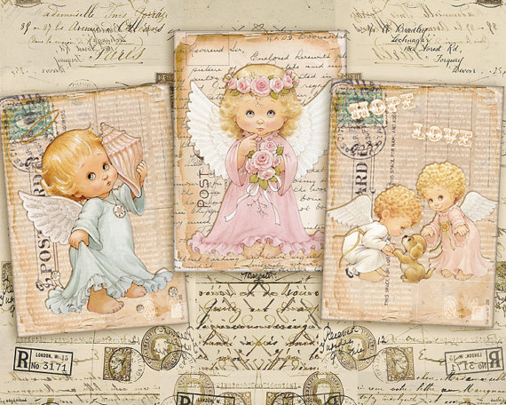 Digital Collage Sheet – Greeting Cards – Gift Tags – Jewelry Holders – Printable Collage – Instant Download – VINTAGE ANTIQUE ANGELS by FrezeArt