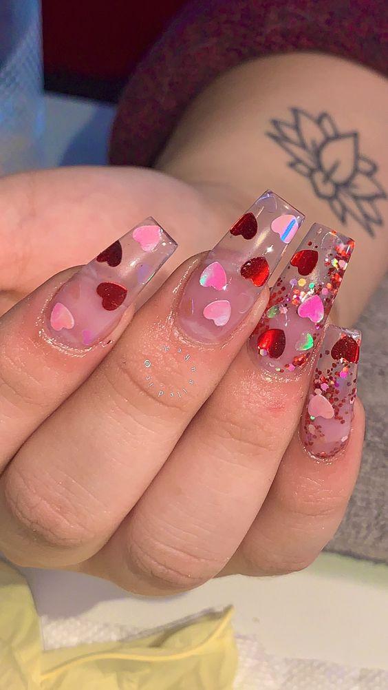 Valentines Day Acrylic Nails Diy Cuteness