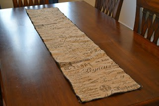 using a serger to make this table runner from burlap made it come out even better than I expected