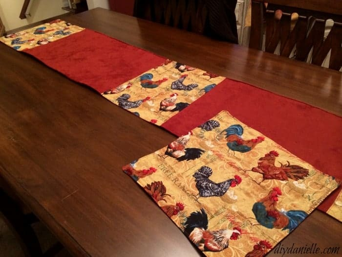 Coordinating rooster table runner to go with the toaster cover.