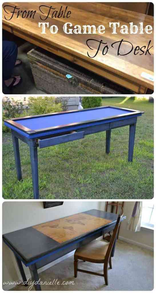 How to repurpose a table into a gaming table and desk. This upcycle involves distressing the furniture piece, installing gaming felt (poker table cloth), adding a wood edge around the table, adding a top for the table, and using mod podge to put the map on the top.