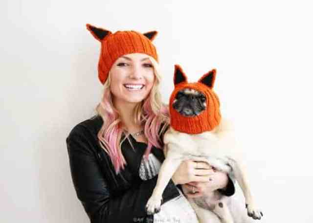 these simple fox hats allow you to dress up with your dog without going overboard