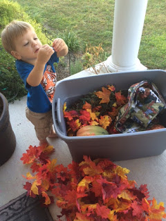 Setting up our fall decorations for 2015.
