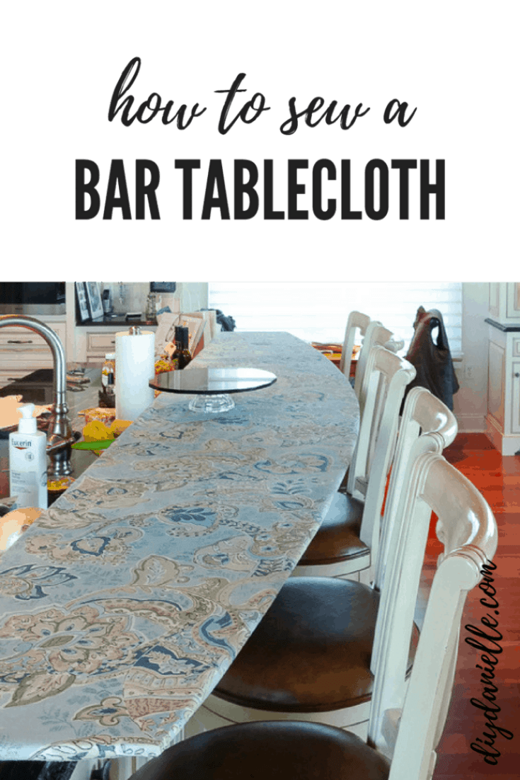 Easy to sew breakfast bar tablecloth that is fitted so it won't slide off.