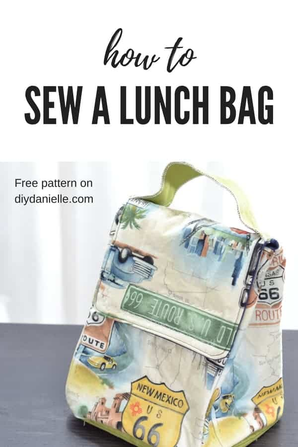Children's lunch bag with road signs on it. Get the free pattern on diydanielle.com
