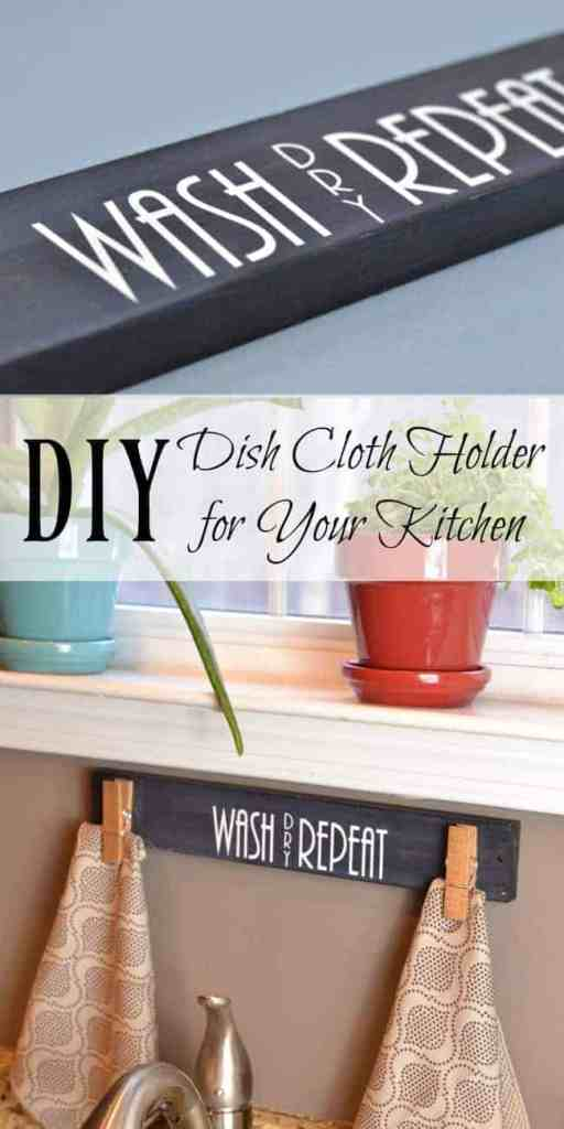 DIY Dish Cloth Hanger for Kitchen