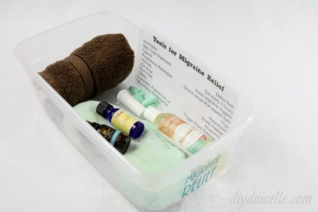 A migraine relief kit that I store in my bathroom closet so I can have easy access to options for treating migraines naturally.