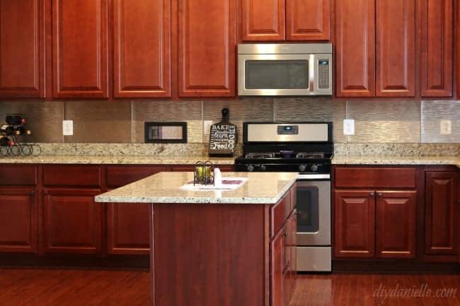 DIY Kitchen Backsplash in Brushed Nickel