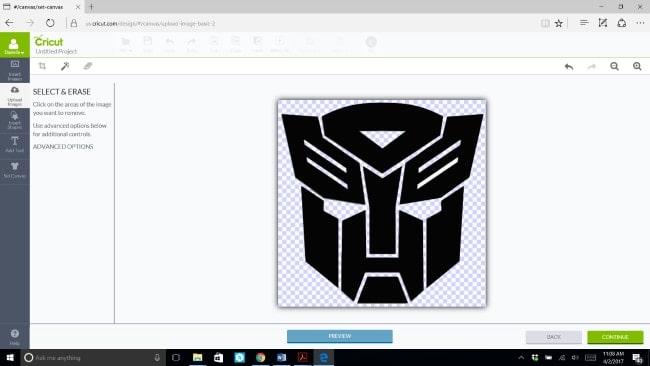 Erasing background on an uploaded image in Cricut Design Studio