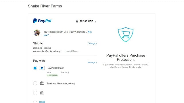 Paying process with PayPal