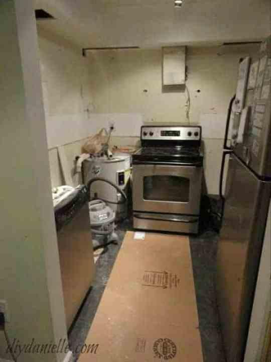 Kitchen torn apart for renovation.