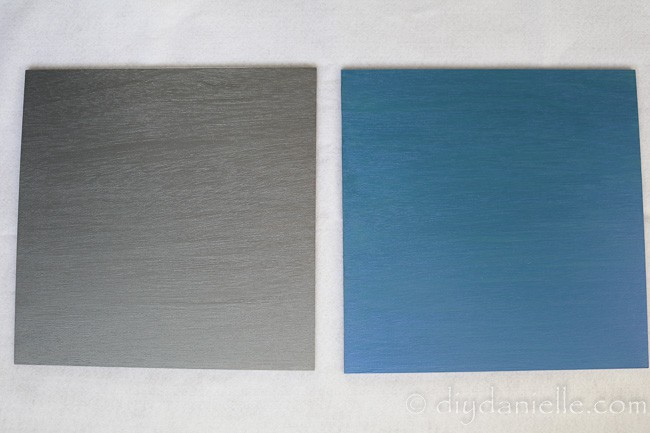 Painted signs in Folkart Paint: metallic gray and blue flash.