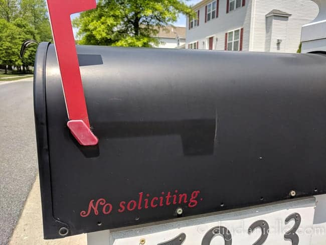 No soliciting sign on the mailbox, meant to keep vendors from leaving pamphlets.