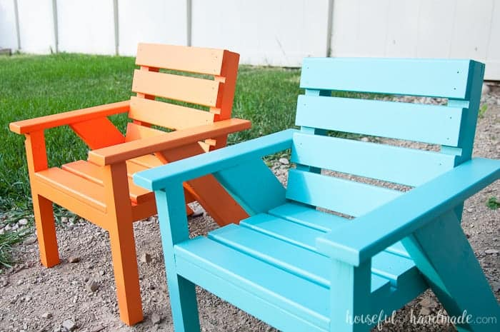 DIY kids patio chairs for an outdoor playroom.