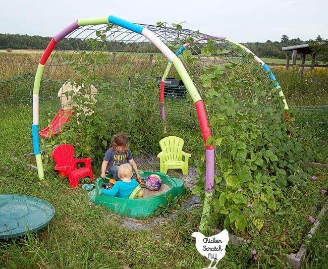Garden trellis for an outdoor kids space.
