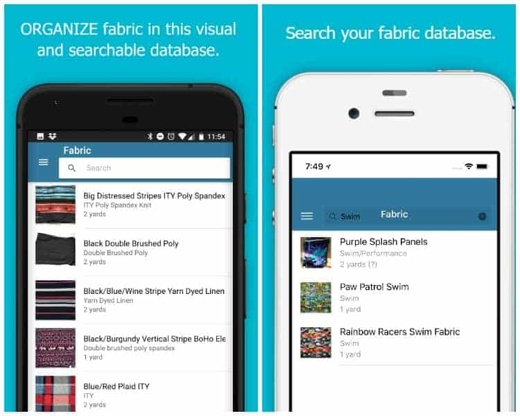 Screenshots of the organizing fabric feature in the Sew Organize phone app.