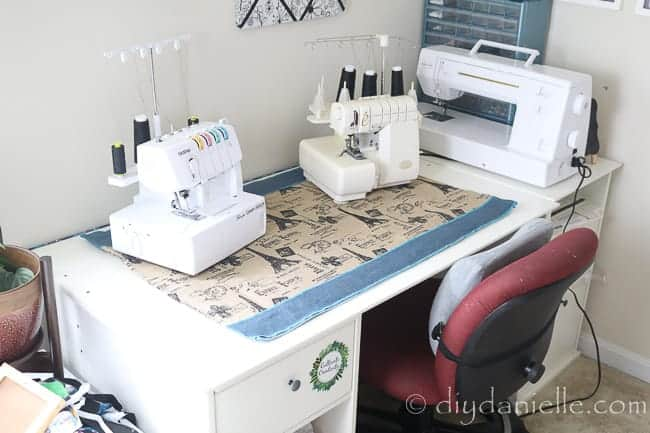 A large muffling mat for a serger and coverstitch machine.