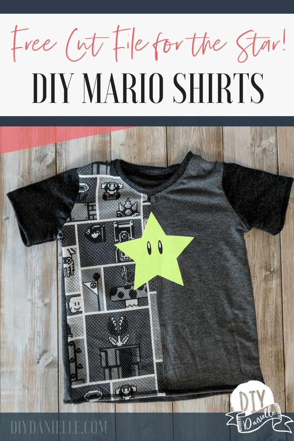Adorable Mario shirts with the Super Star on the front with HTV. Get the free cut file from diydanielle.com.