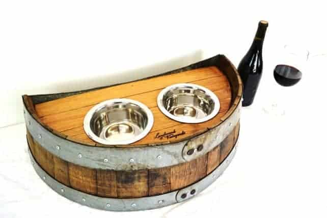 Wine Barrel Dog Feeder,available on Etsy. Photo from WineCountryCraftsman.