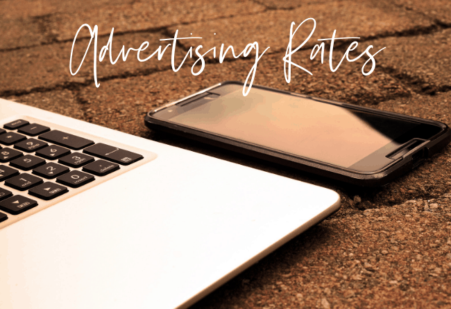 """Sponsored post rates for craft, sewing and diy blog, DIYDanielle.com Photo: Computer and phone with words """"Advertising Rates"""""""