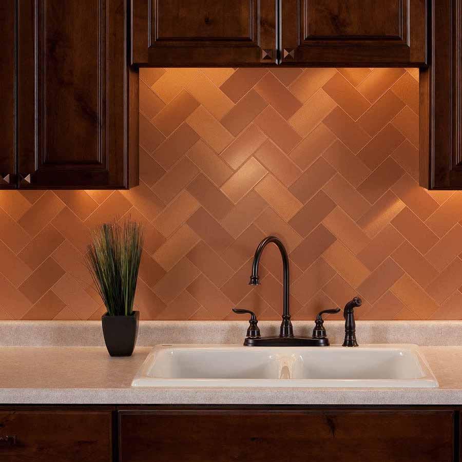 Aspect Backsplash-3x6 Brushed Copper Short Grain Metal Tile