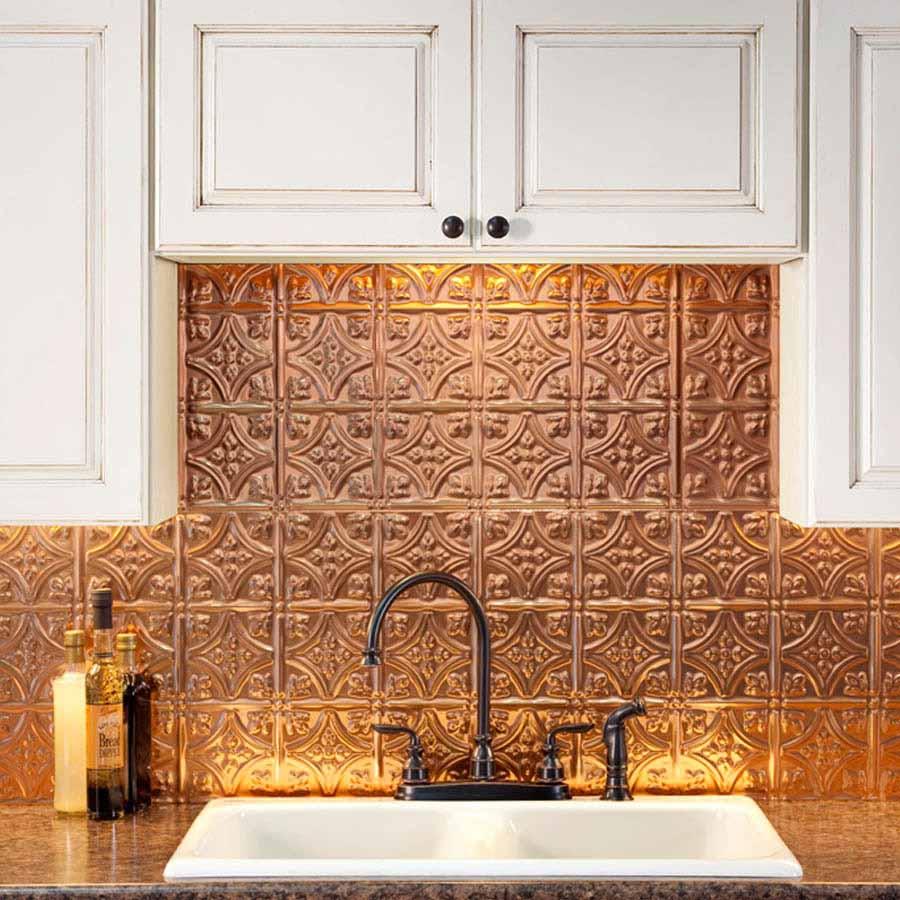 Fasade Backsplash - Traditional 1 in Polished Copper