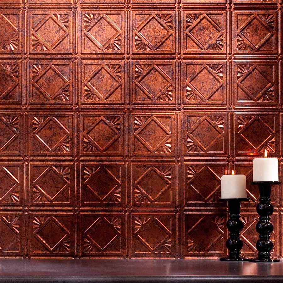 Fasade Backsplash - Traditional 4 in Moonstone Copper