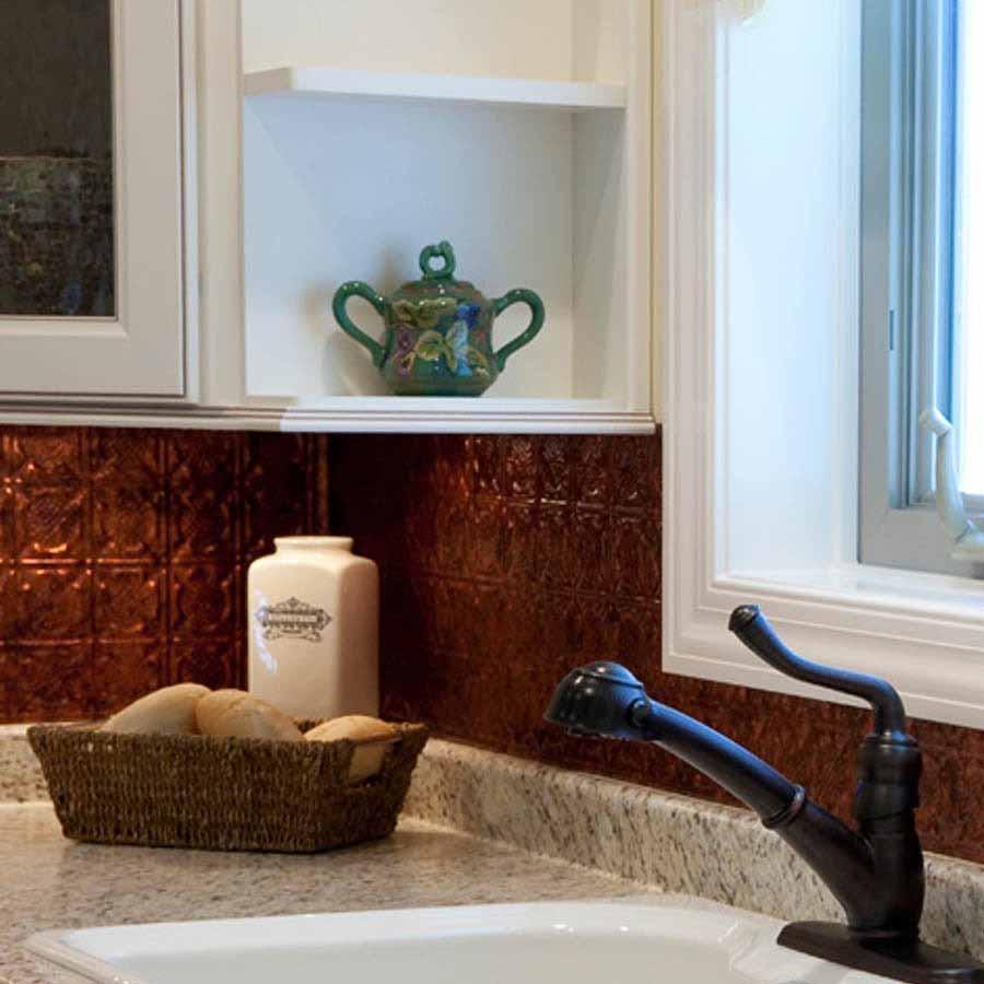 Fasade Backsplash - Traditional 6 in Moonstone Copper