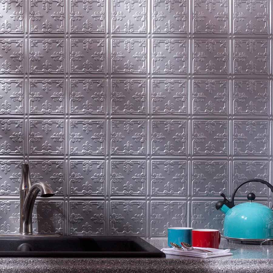 Fasade Backsplash - Traditional 10 in Argent Silver