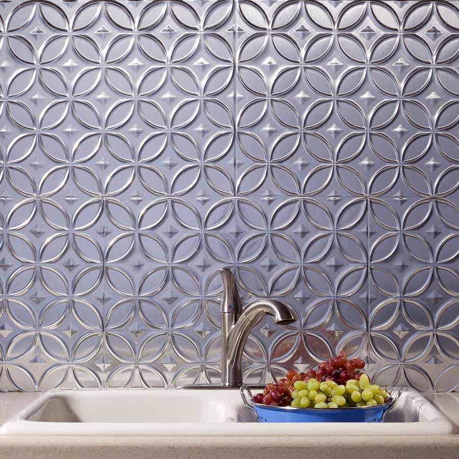 Fasade Backsplash - Rings in Brushed Aluminum