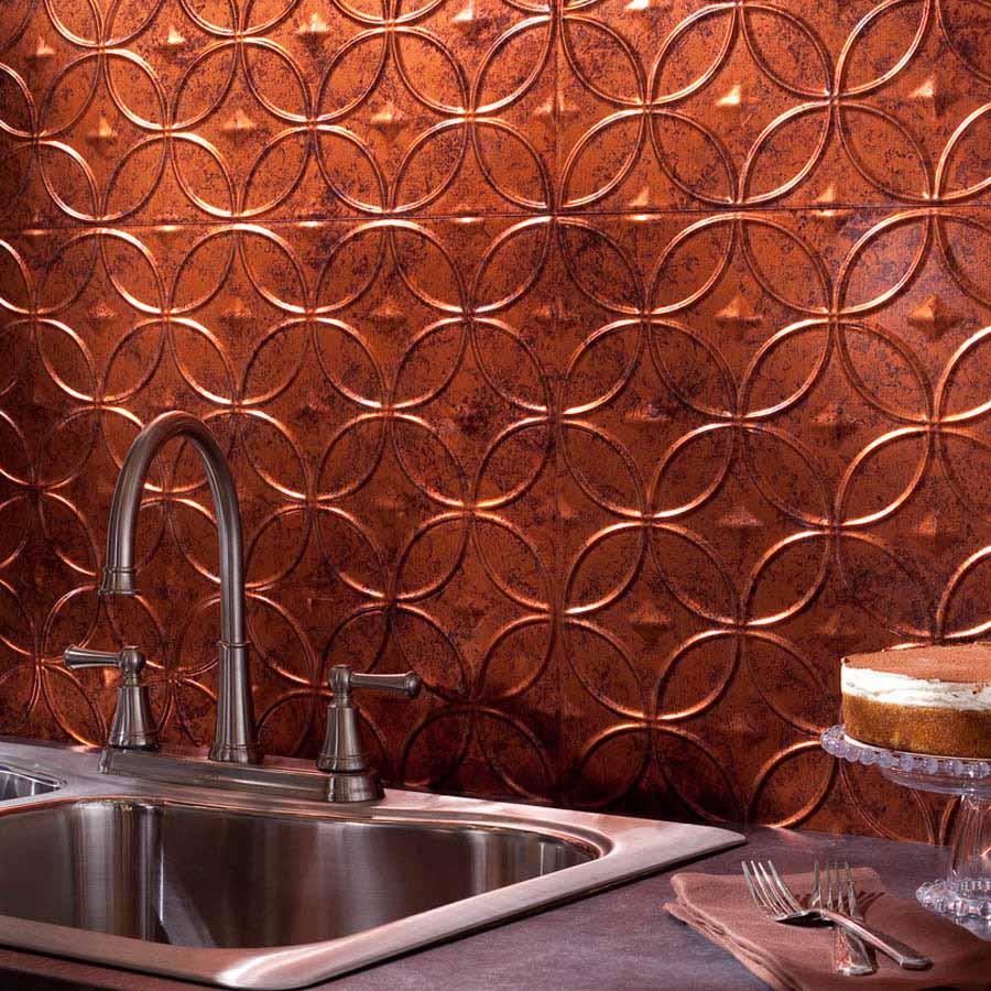 Fasade Backsplash - Rings in Moonstone Copper