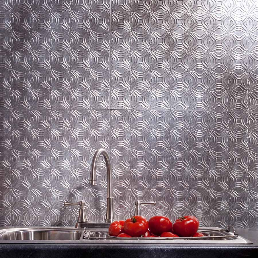 Fasade Backsplash - Lotus in Crosshatch Silver
