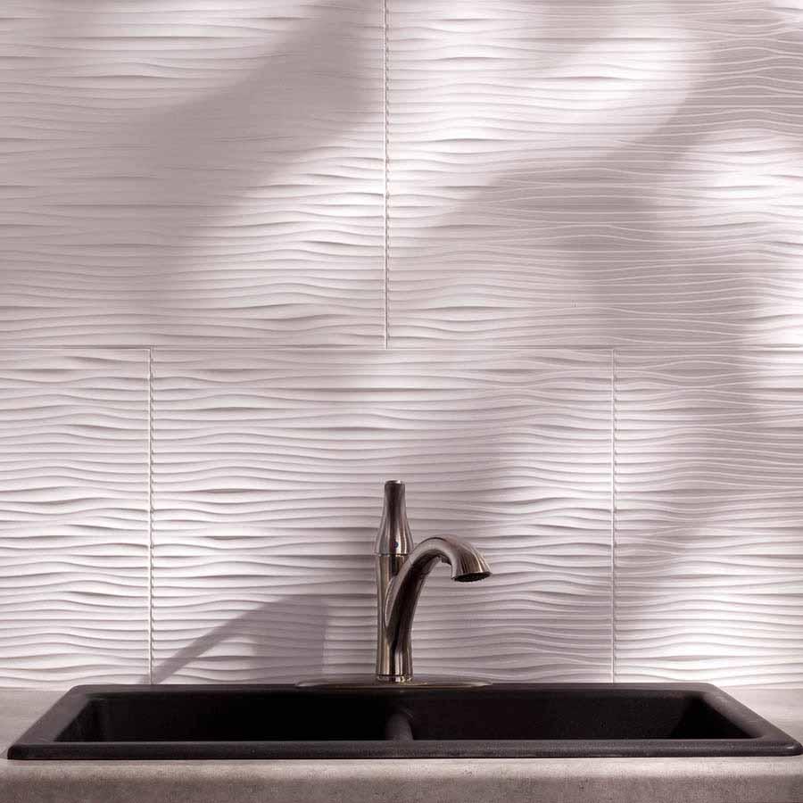 Fasade Backsplash - Waves in Gloss White