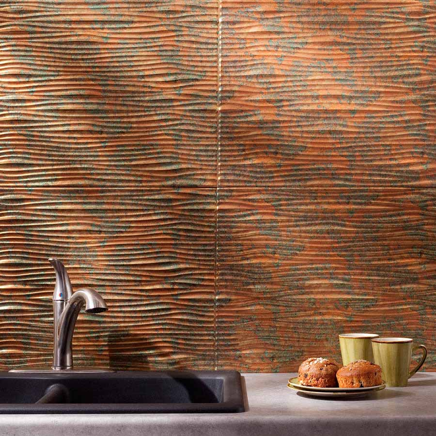 Fasade Backsplash - Waves in Copper Fantasy