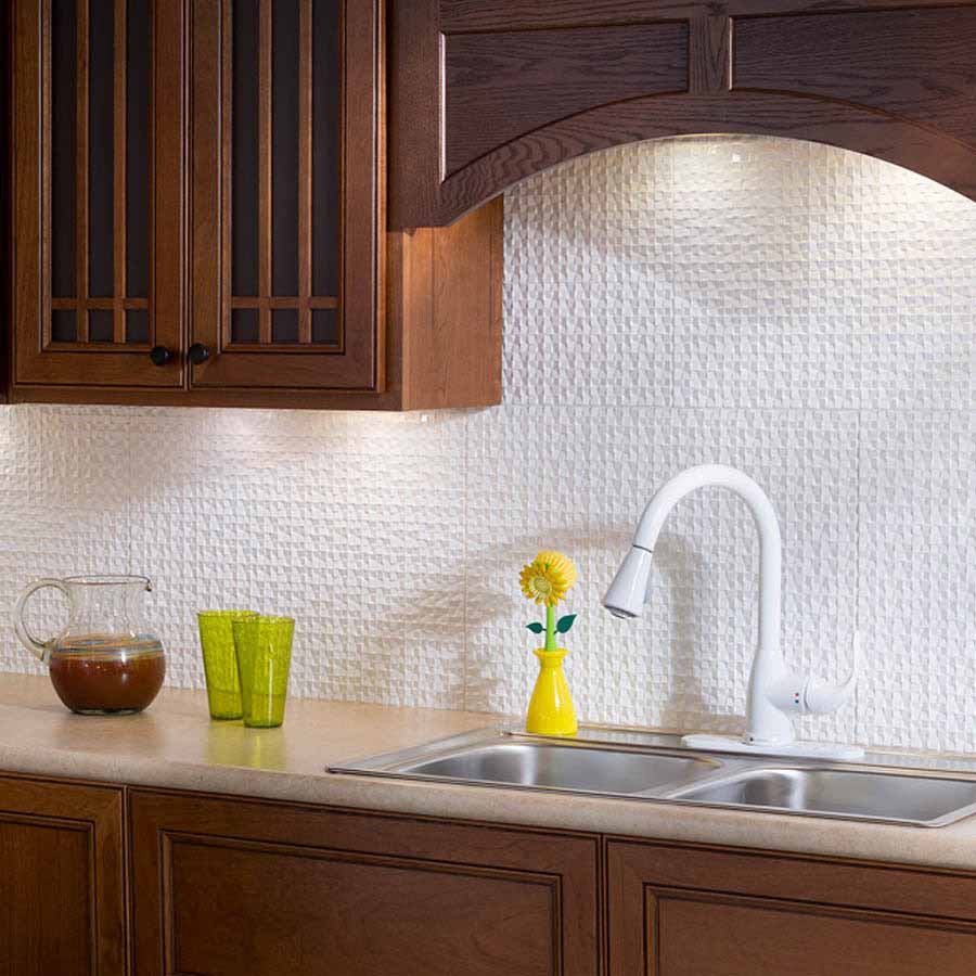 Fasade Backsplash - Terrain in Gloss White
