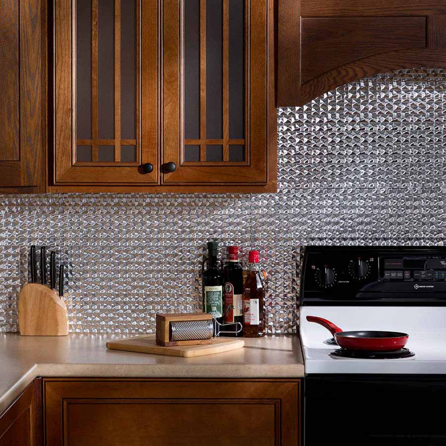 Fasade Backsplash - Terrain in Brushed Aluminum