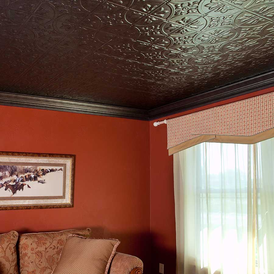 Fasade Ceiling Tile-2x4 Direct Apply-Traditional 2 in Smoked Pewter
