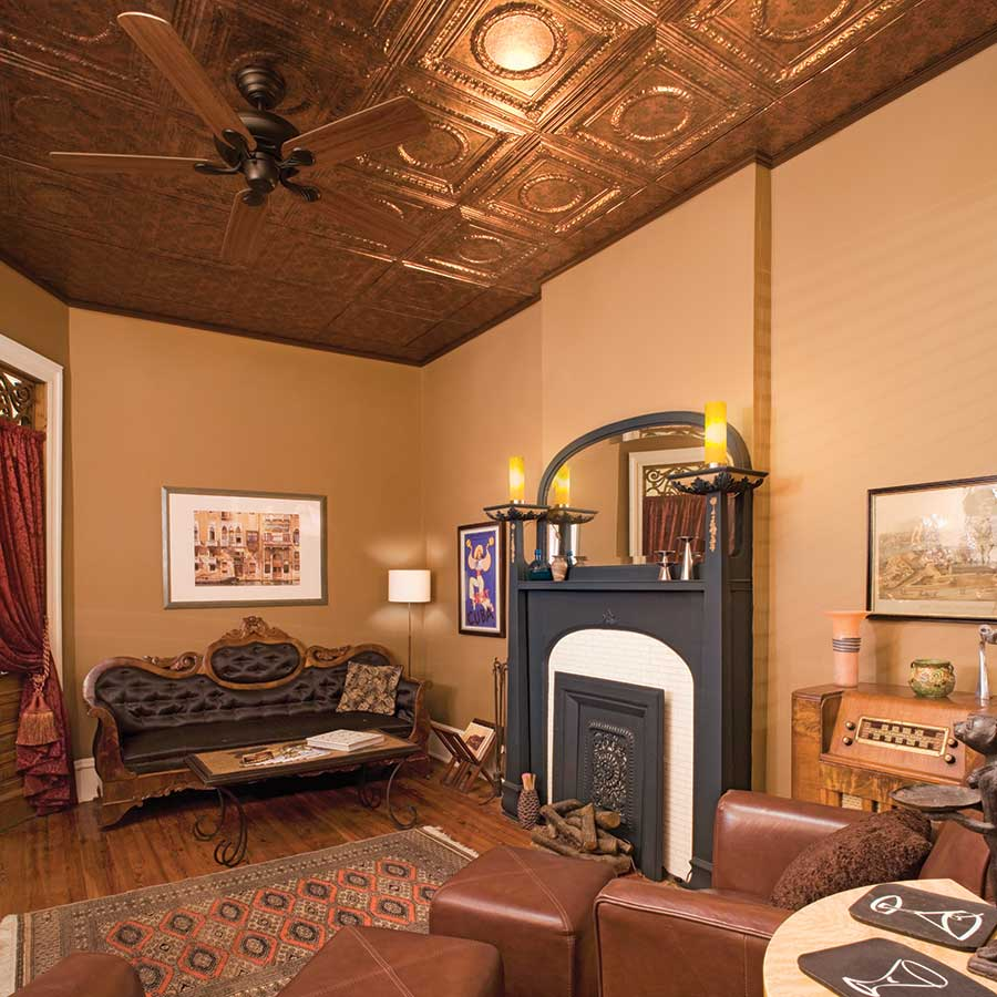 Fasade Ceiling Tile-2x4 Direct Apply-Rosette in Copper Fantasy
