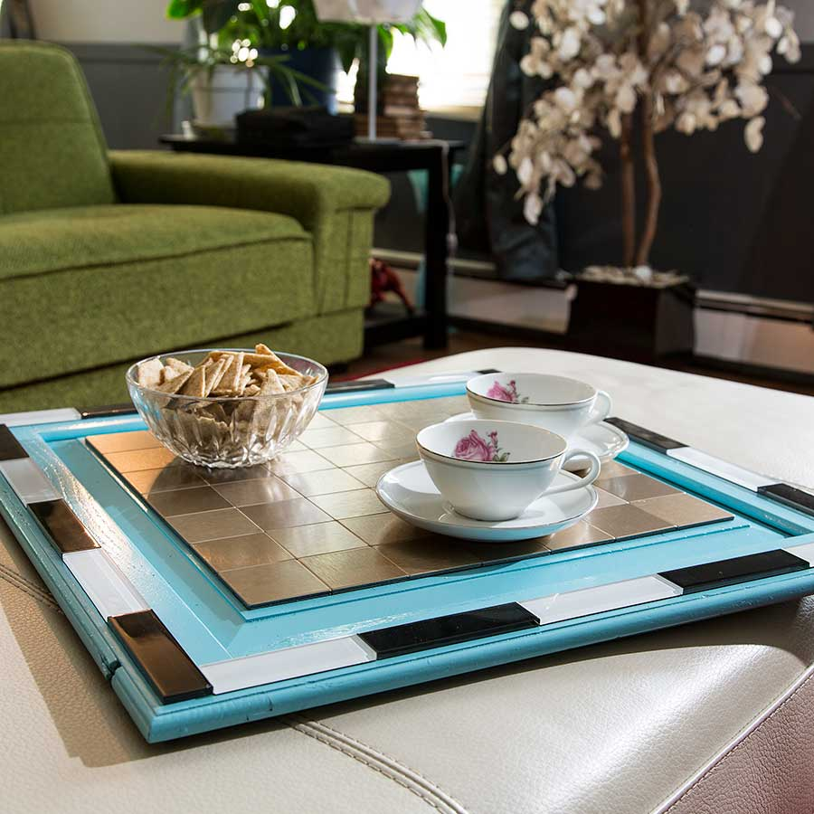 Serving Tray with Aspect Glass and Metal Tiles