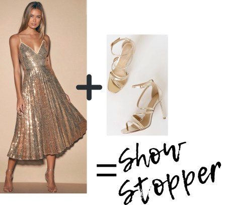 Holiday Outfit: Gold sequin dress