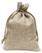 Burlap gift bag for pom-pom wine glass charms.