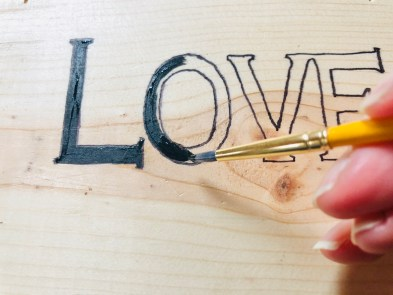 DIY Craft: paint in stencil.