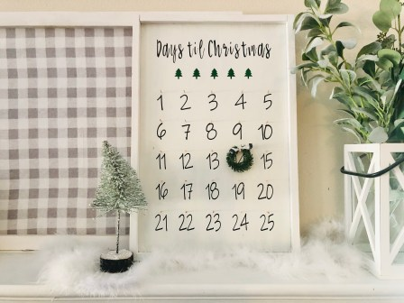 DIY Christmas advent calendar sign.