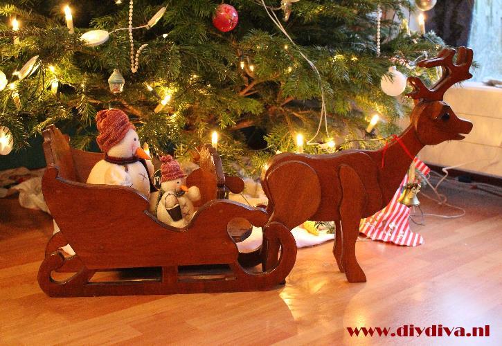 houten rendier slee diydiva kerstmis