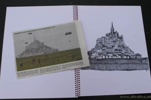 Mont Saint Michel tekening met foto diydiva