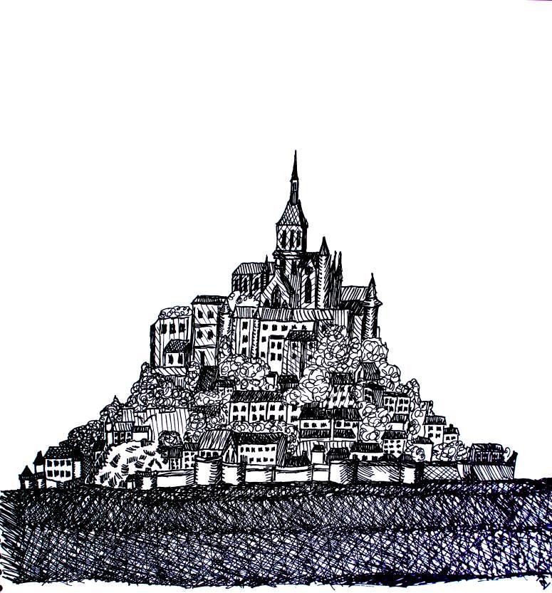 Mont Saint Michel tekening diydiva
